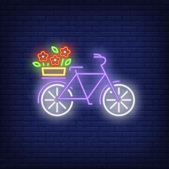 Bicicleta de primavera señal de neón