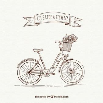 Bicicleta retro con estilo de dibujo a mano