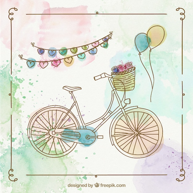 Bicicleta retro pintada a mano
