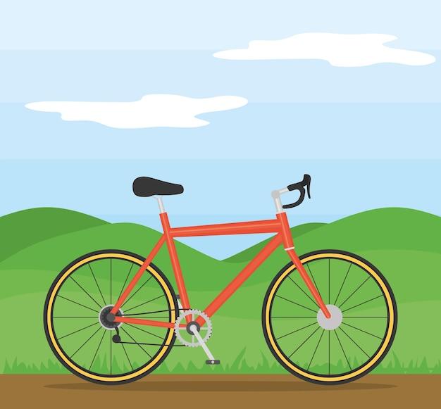 Bicicleta roja en el paisaje