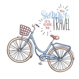 Bicicleta de vector en estilo vintage. letras: el verano es hora de viajar.