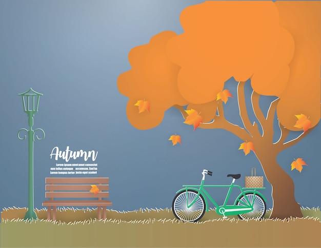 Bicicleta verde debajo del árbol en la ilustración del otoño.