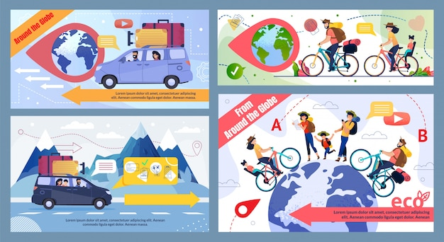 Bicicleta y viaje en coche redondo globe promo illustration set
