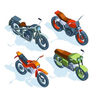 Bicicletas deportivas isométricas. imágenes isométricas de varias motocicletas.