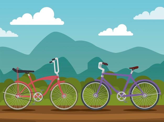 Bicicletas con pétalos y asiento en paisaje natural.