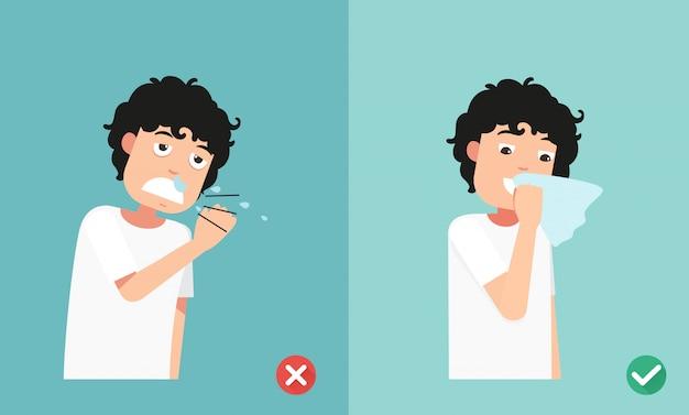 Bien y mal estornudando en la mano