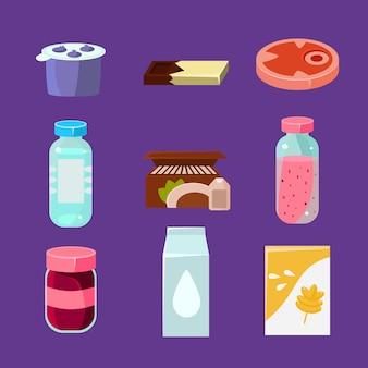 Bienes comunes y productos cotidianos en estilo plano