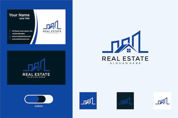 Bienes raíces con diseño de logotipo de construcción y tarjeta de visita.