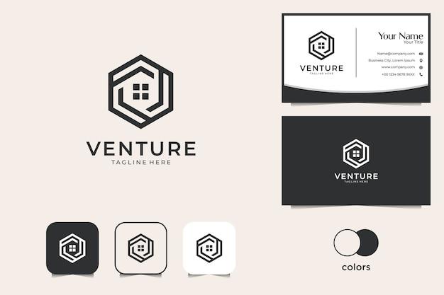 Bienes raíces con diseño de logotipo de geometría del hogar y tarjeta de visita.