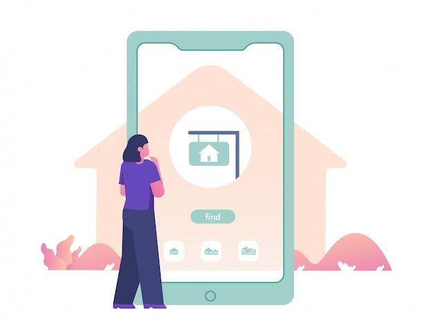 Bienes raíces en la ilustración del concepto de aplicación móvil