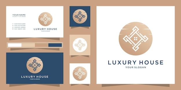 Bienes raíces minimalista icono abstracto hogar estilo lineal