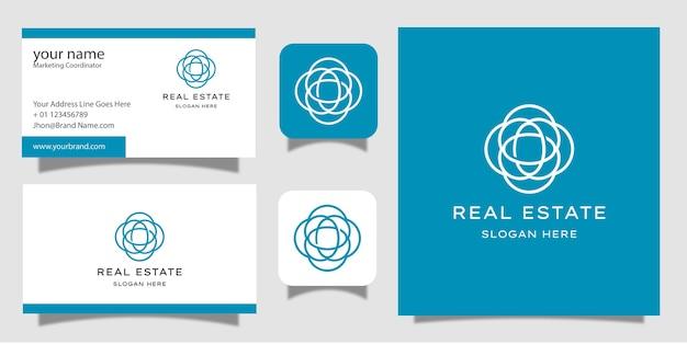Bienes raíces con tarjeta de visita de diseño de logotipo de estilo de arte lineal