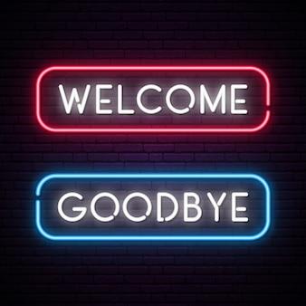 Bienvenida y adiós vector banner de texto de neón.