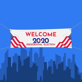Bienvenida banner elección presidencial 2020 estados unidos plantilla vector diseño ilustración