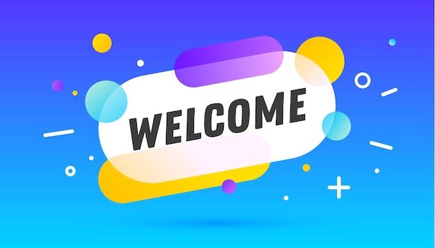 Bienvenida, bocadillo. banner, cartel, bocadillo con texto de bienvenida.