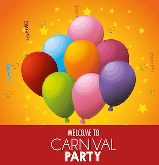 Bienvenida carnaval fiesta celebración globos estrellas