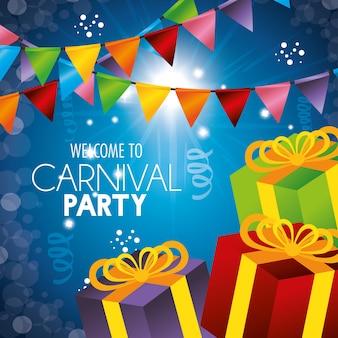 Bienvenida carnaval fiesta regalos guirnaldas confeti