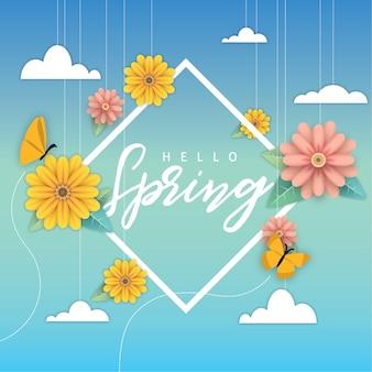 Bienvenida flor de primavera con marco
