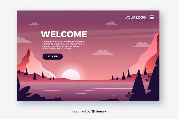 Bienvenida página de aterrizaje diseño plano