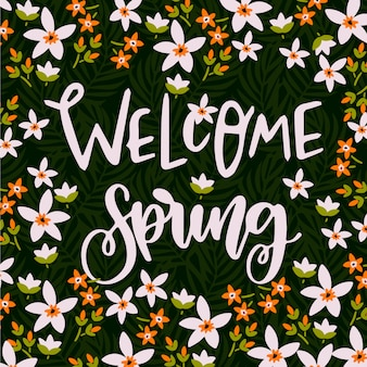 Bienvenida primavera fondo de letras