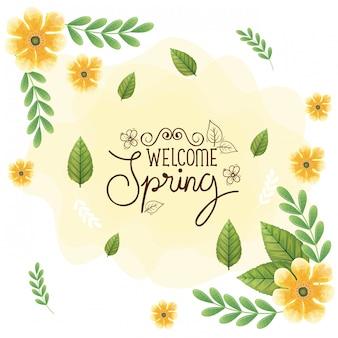Bienvenida primavera con marco de flores y decoración de hojas