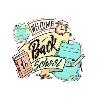 Bienvenida tarjeta de regreso a la escuela