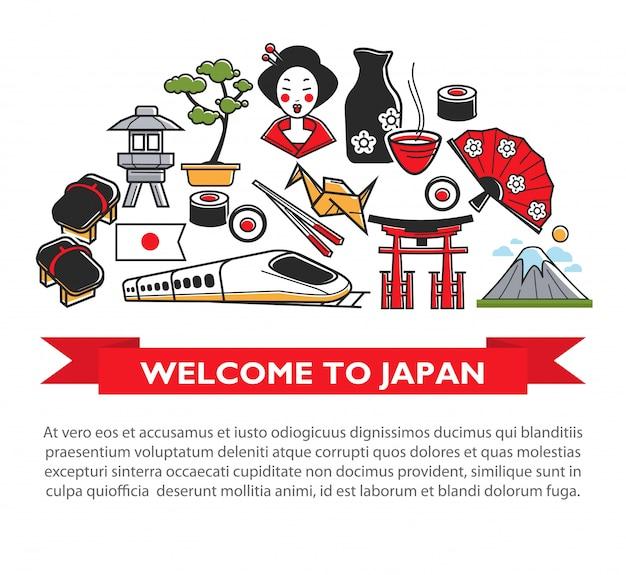 Bienvenido al cartel de viaje de japón de los íconos de atracciones y monumentos turísticos famosos de la cultura japonesa