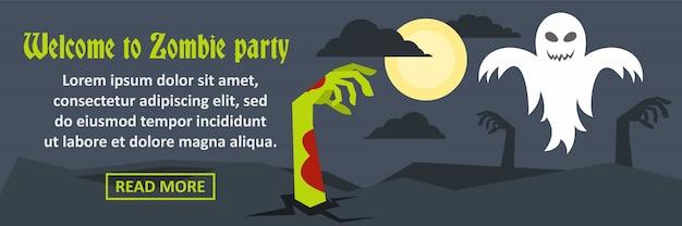 Bienvenido al concepto horizontal de banner de fiesta zombie