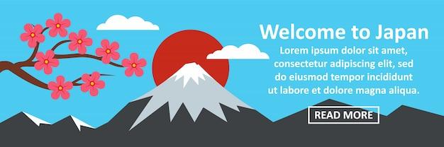 Bienvenido al concepto horizontal de banner de japón