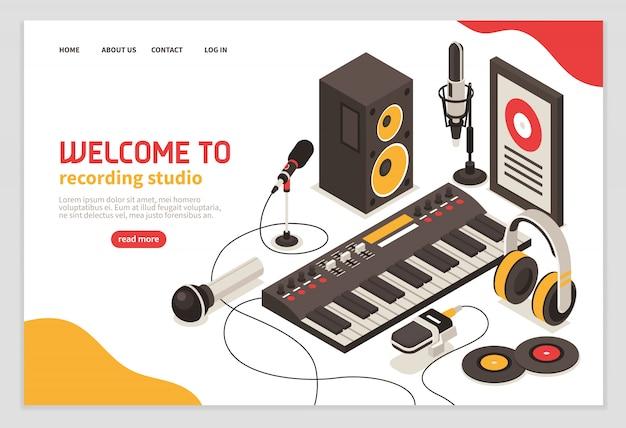 Bienvenido al póster del estudio de grabación con instrumentos musicales, micrófonos, auriculares, amplificador, disco compacto, iconos isométricos
