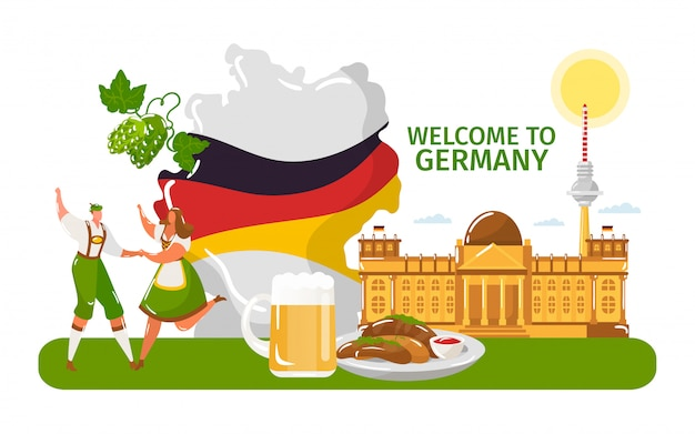 Bienvenido a alemania, gente masculina, femenina en tela tradicional, danza aislada en blanco, ilustración vectorial plana. bandera nacional del país