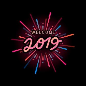 Bienvenido año 2019 vector de celebración