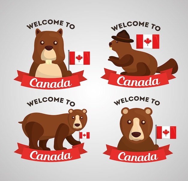 Bienvenido a canadá grizzly bear and bear flag canadiense labels