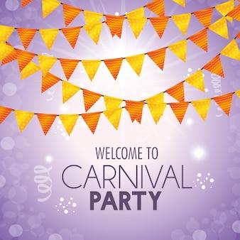 Bienvenido carnaval partido banderín decoración confeti luz