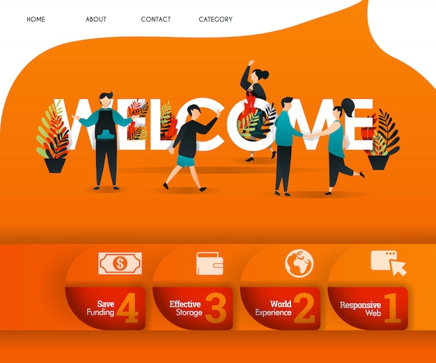 Bienvenido concepto de página de destino naranja