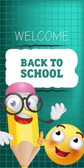 Bienvenido de nuevo a las letras de la escuela con un personaje de lápiz de dibujos animados