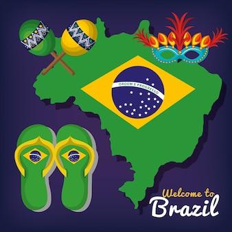 Bienvenido a diseño de ilustración de vector de cartel de brasil