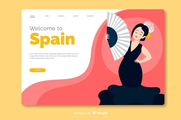 Bienvenido a diseño plano de plantilla de página de destino de españa