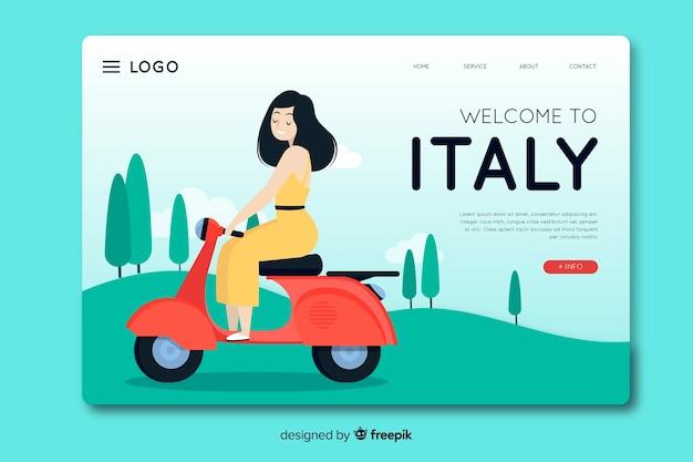 Bienvenido a diseño plano de plantilla de página de destino de italia