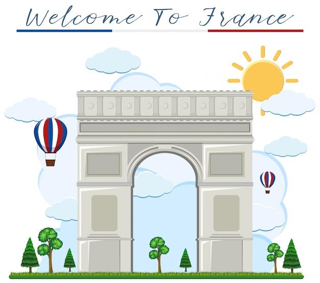 Bienvenido a francia arch de triunfo