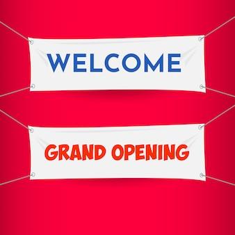 Bienvenido, gran inauguración banner vector plantilla diseño ilustración