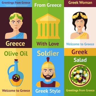 Bienvenido a grecia conjunto de ilustraciones. desde grecia con amor. mujer griega, soldado, aceite de oliva, ensalada.