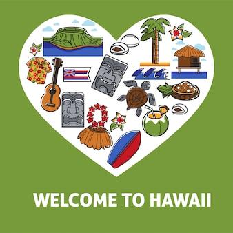 Bienvenido a hawaii banner promocional con símbolos nacionales