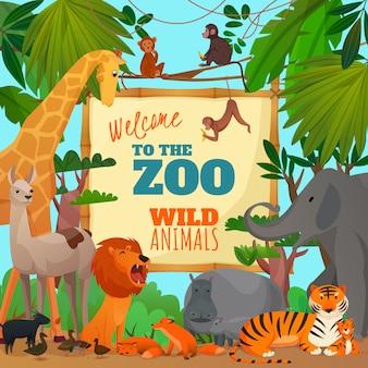 Bienvenido a la ilustración de dibujos animados de zoológico
