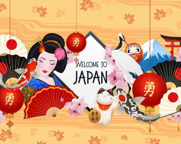 Bienvenido a la ilustración de japón con diferentes elementos.