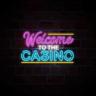 Bienvenido a la ilustración de letrero de neón del casino