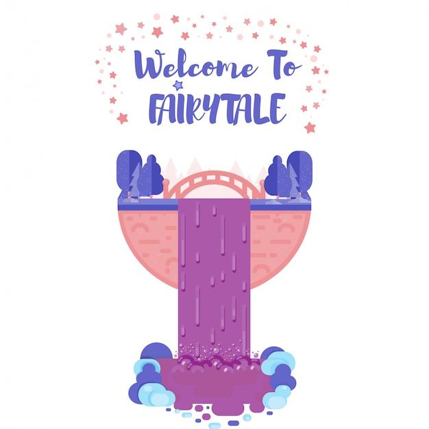 Bienvenido a la ilustración plana de cuento de hadas. cartel de verano