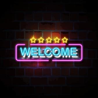 Bienvenido con la ilustración de signo de estilo neón de cinco estrellas