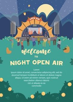 Bienvenido a invitación al festival nocturno al aire libre. diseño de cartel vertical con escenario de música electrónica y gente bailando por la noche.