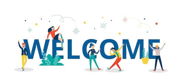 Bienvenido letras coloridas con personajes de personas ilustración vectorial plana aislado.